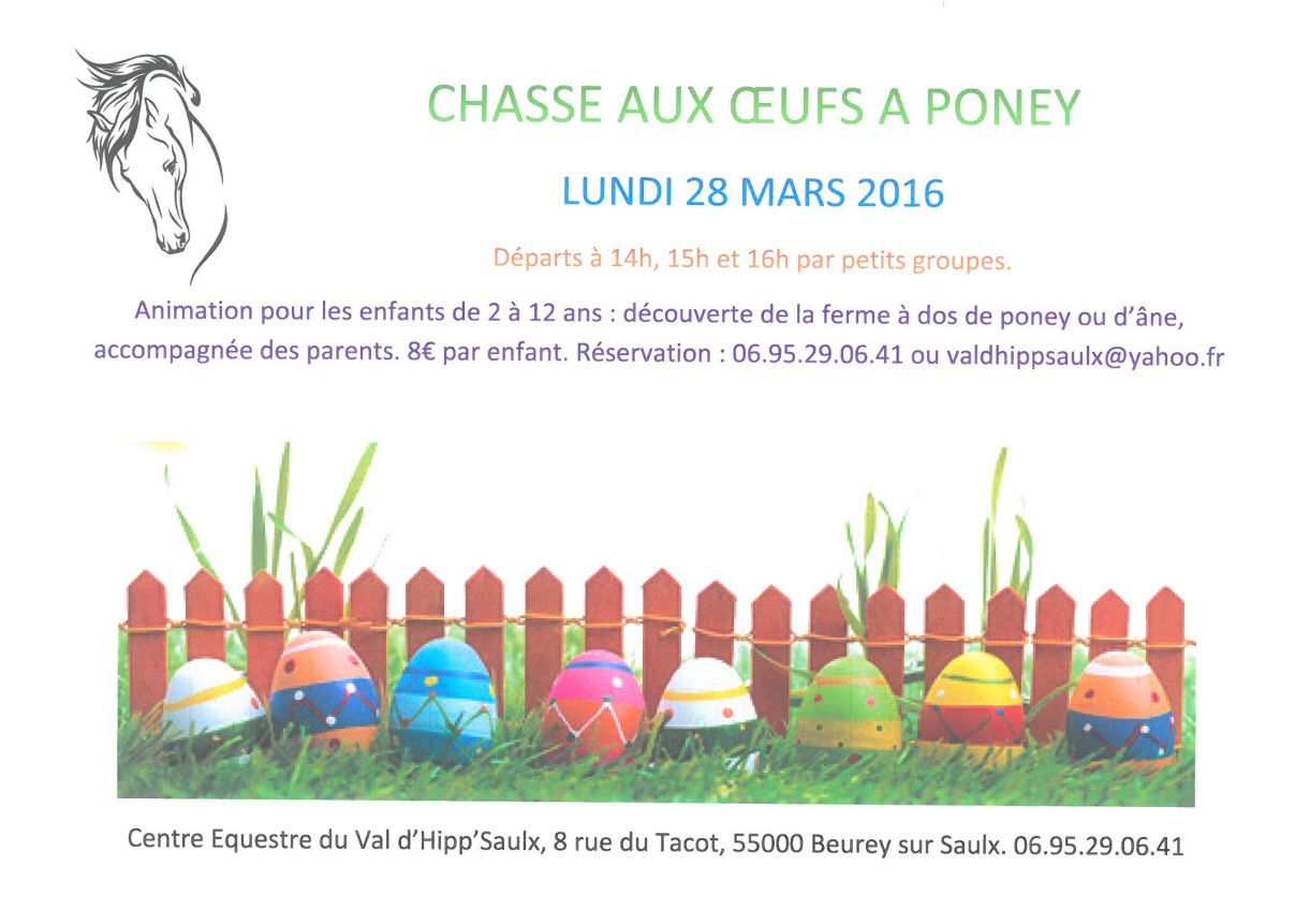 CHASSE AUX OEUFS A PONEY - Lundi 28 Mars 2016